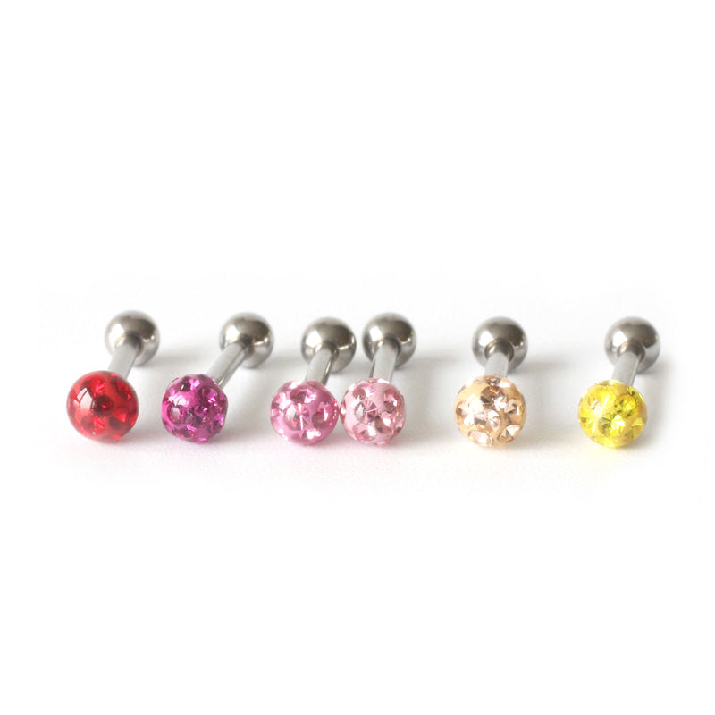 3mm CZ Ball Barbell Earring 16g, 18g, 20g