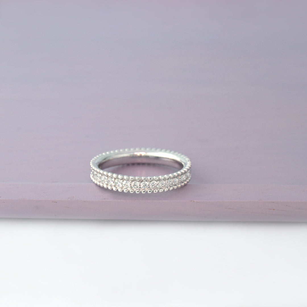 Sterling Silver Beaded CZ Band Ring