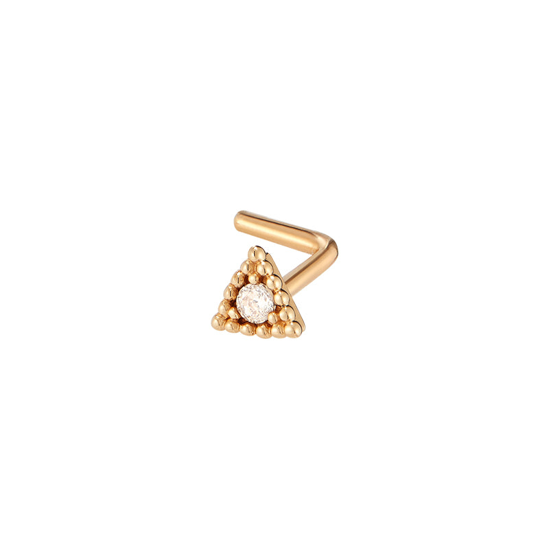 Beaded Triangle L-Shape Nose Stud- 14K Gold