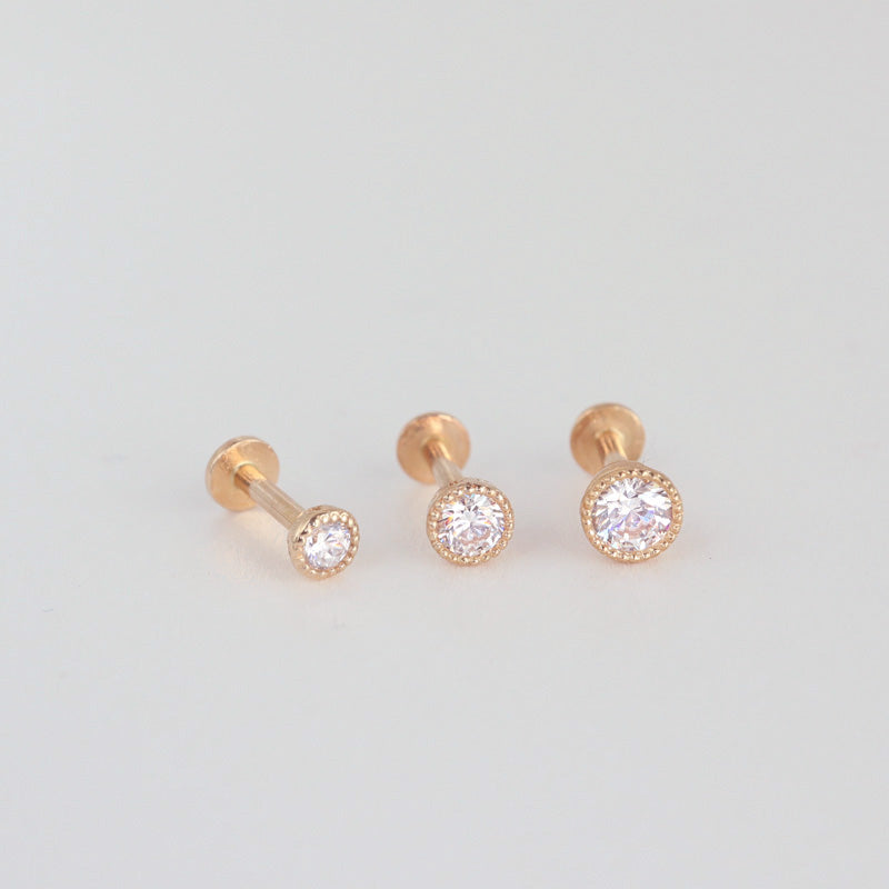 Scalloped Set CZ Labret Piercing- 14K Gold
