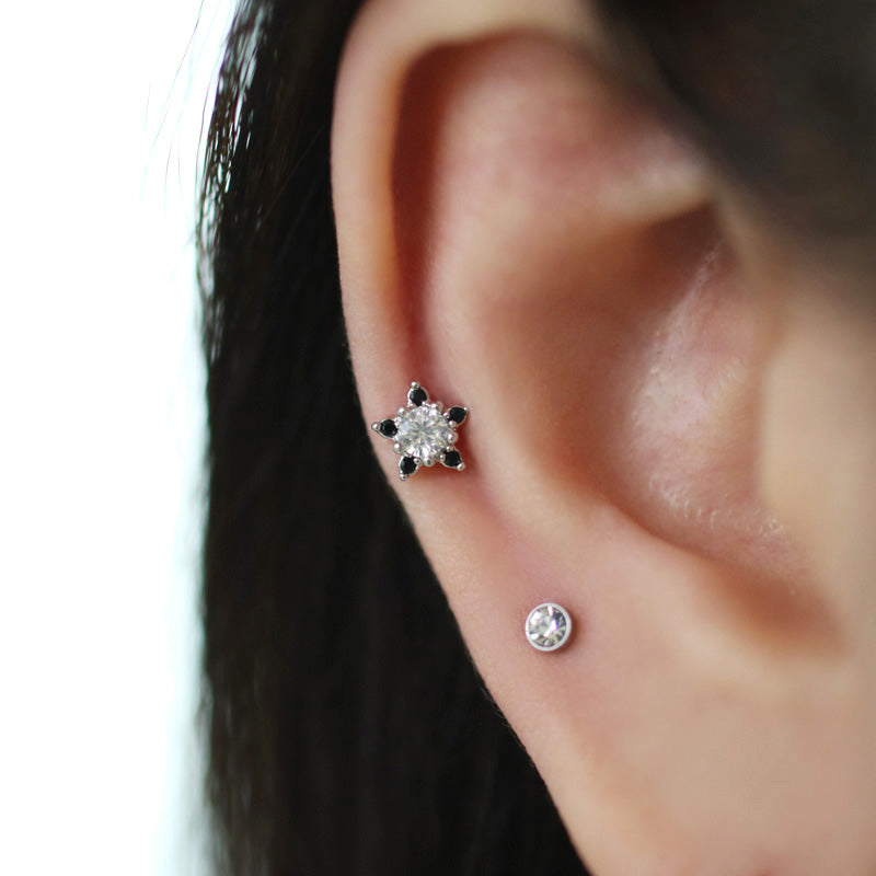 Black Flower Ear Piercing