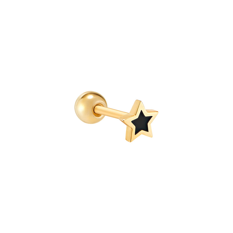 Black Enamel Star Piercing- 14K Gold
