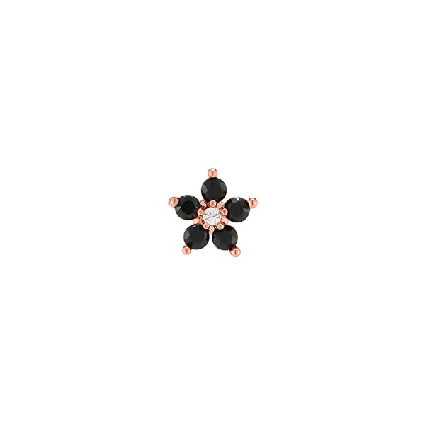 Black CZ Flower Stud Earring