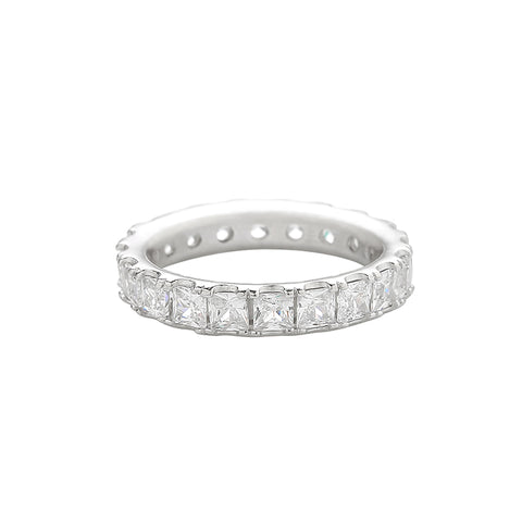 cz eternity wide band ring made in sterling silver