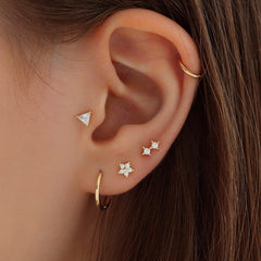 Double Crystal Cartilage Piercing- Sterling Silver