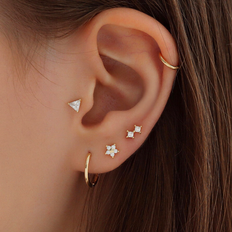 Triangle Crystal Cartilage Piercing- Sterling Silver
