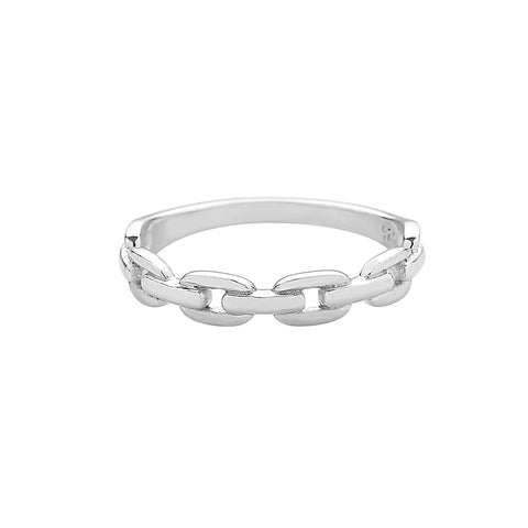 chain band ring made in sterling silver