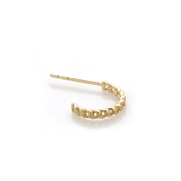 Chain Open Huggie Hoop- 14K Gold