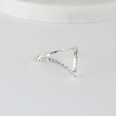 Sterling Silver CZ Chevron Ring