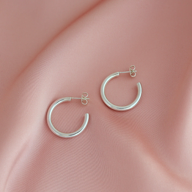 Large Hollow Hoop Earrings- Sterling Silver