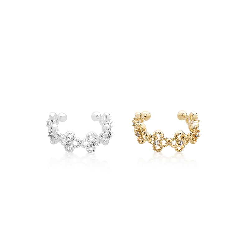 dainty clover ear cuff earring in silver and gold