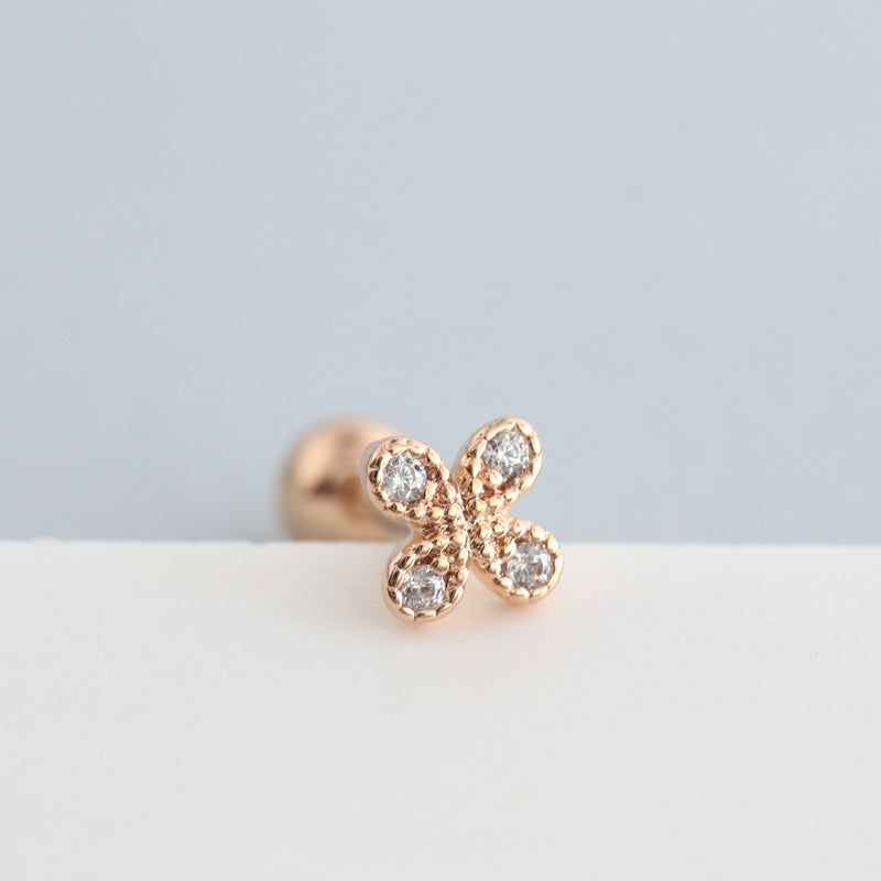 Mini Clover Cartilage Piercing- Sterling Silver