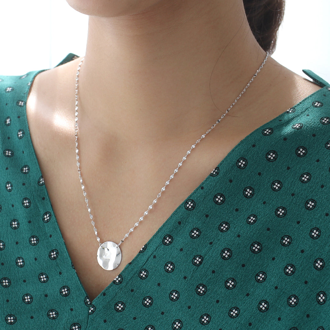 Hammered Coin Necklace- Sterling Silver