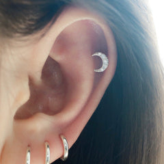 Crescent Moon Cartilage Piercing- Sterling Silver