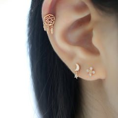 star moon stacking cartilage piercings
