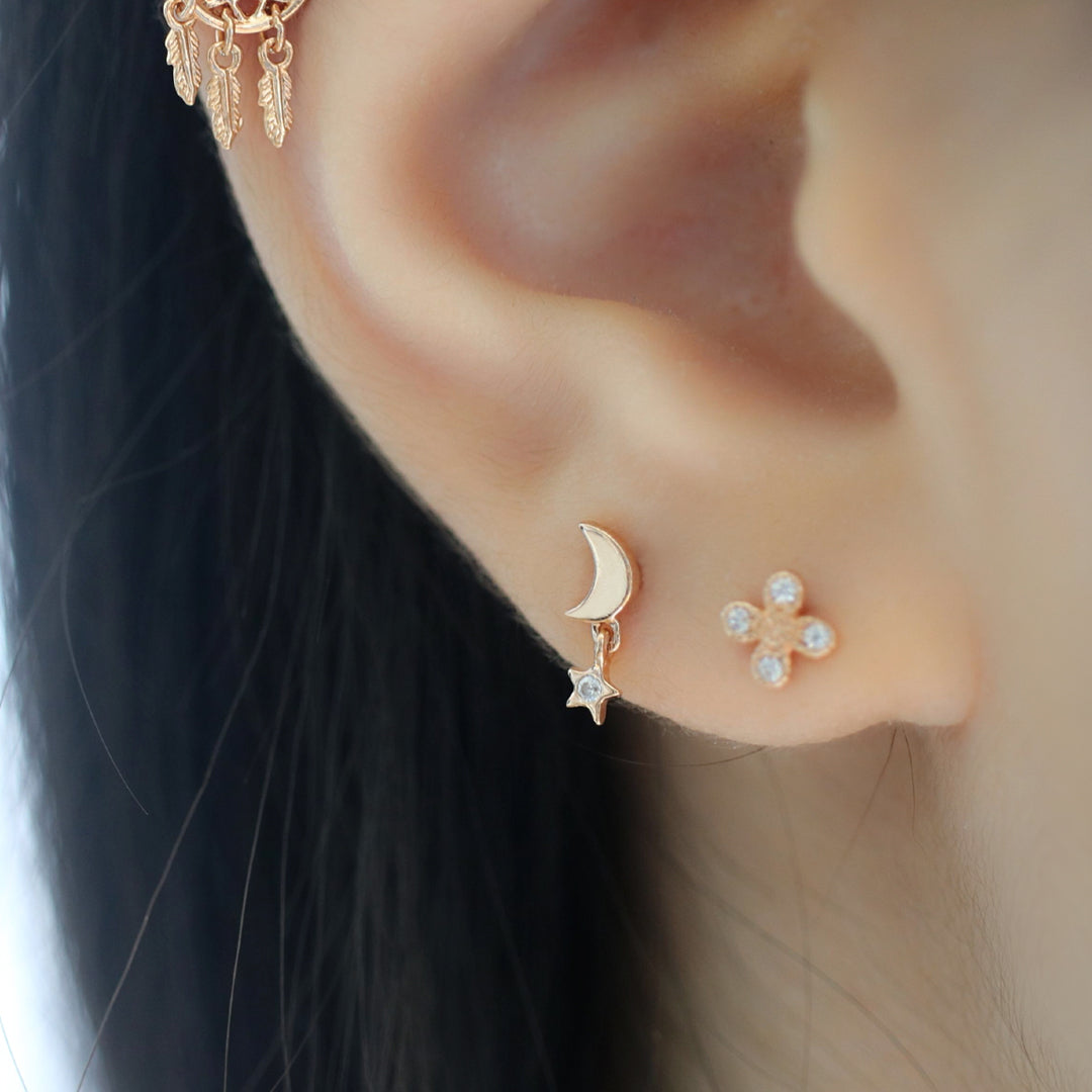 Moon Star Cartilage Piercing Sterling Silver 14k Gold