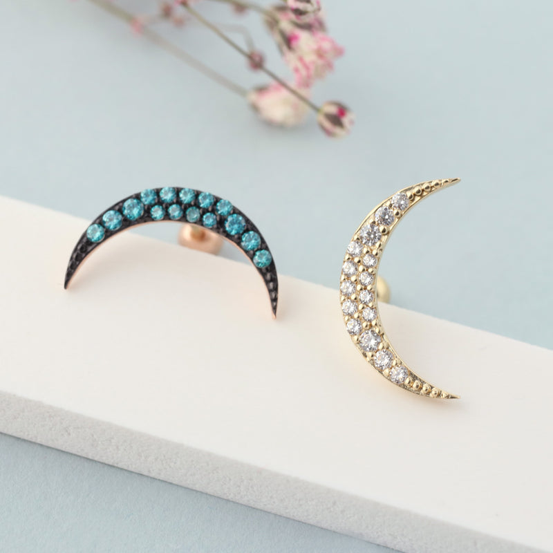 14k gold crescent moon piercing
