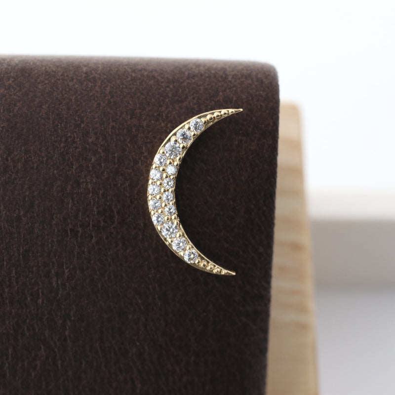 crescent moon helix stud earring