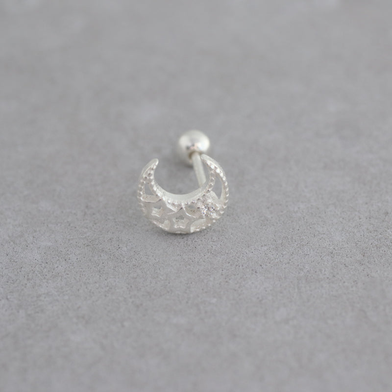 20g Crescent Moon Piercing- Sterling Silver
