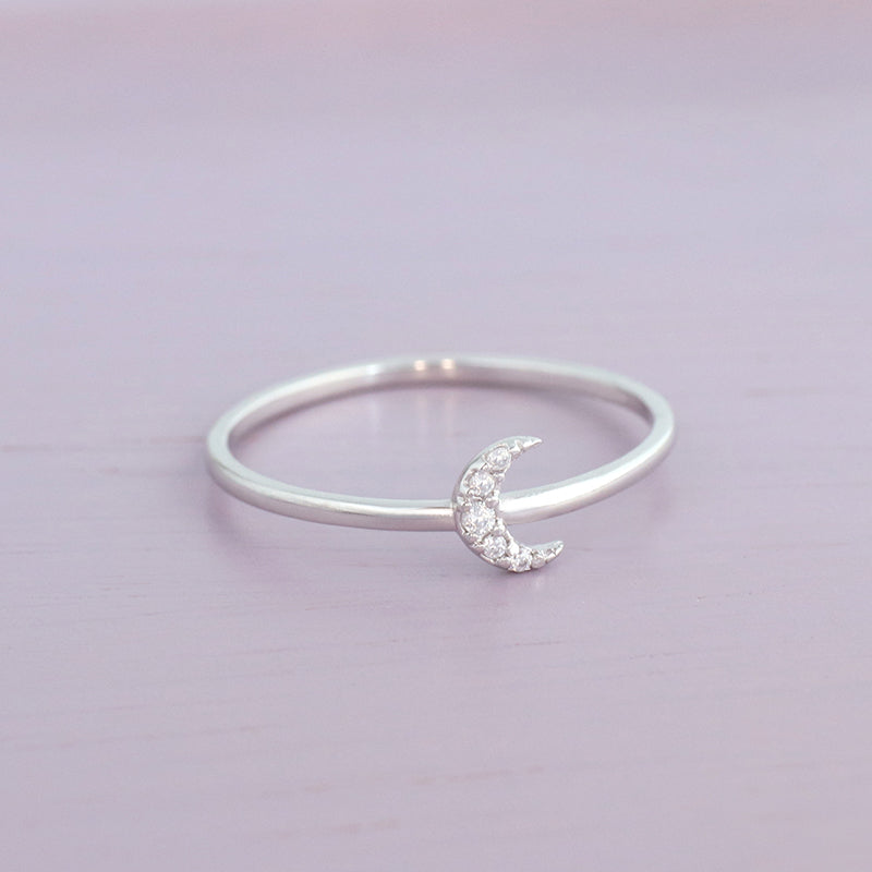 crescent moon ring made in sterling silver