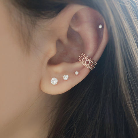 Crown Ear Cuff in Cartilage Conch