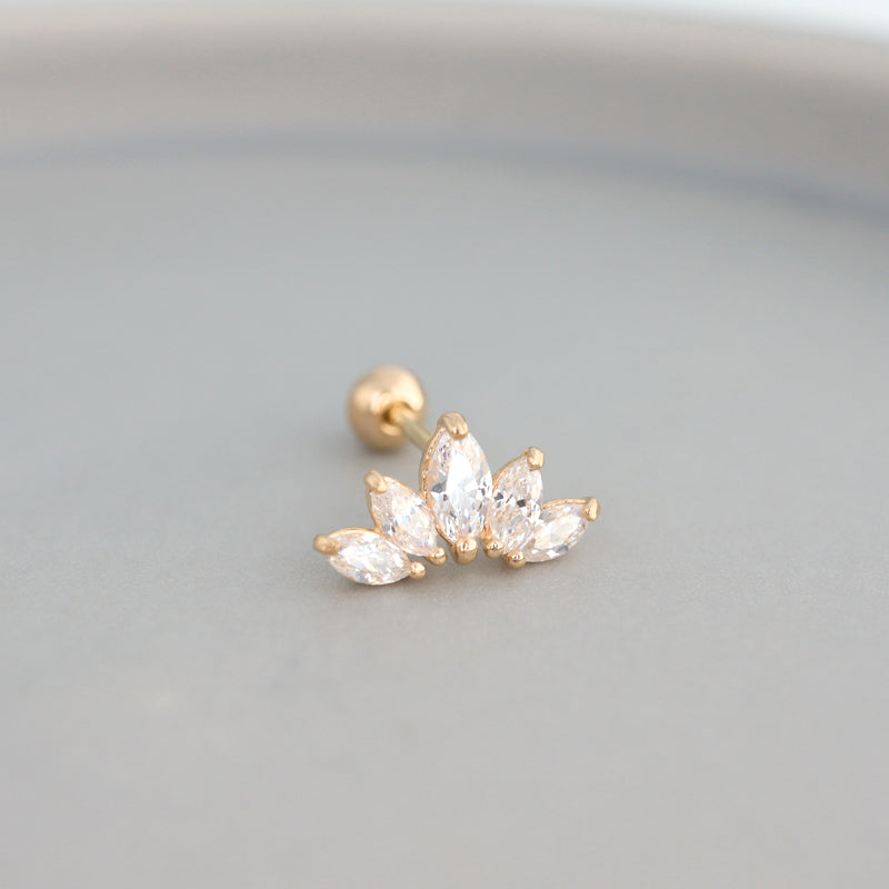 Marquise Crown Stud- 14K Gold