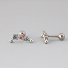 Mix CZ Curved Bar Stud