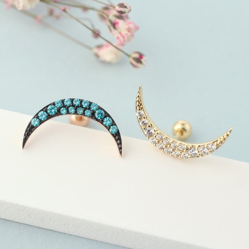 crescent moon cartilage stud earring