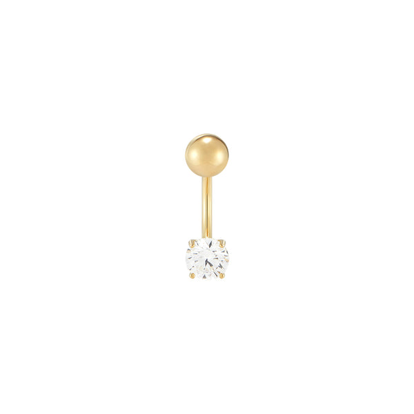 Gem Curved Banana Piercing- 14K Gold