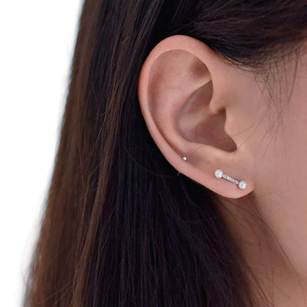pearl CZ bar stud cartilage earrings