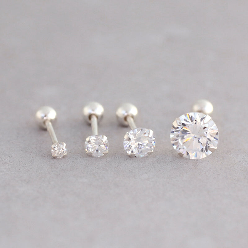 Single CZ Stud Barbell- Sterling Silver