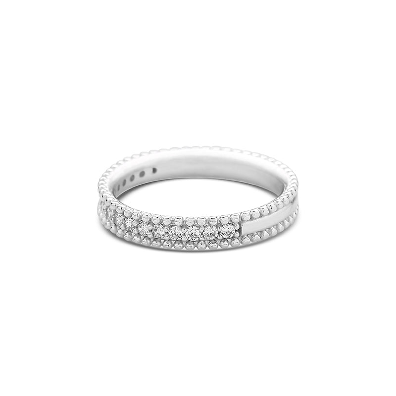 beaded band ring set with cz diamond