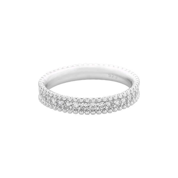 Beaded CZ Band Ring Made in Sterling Silver