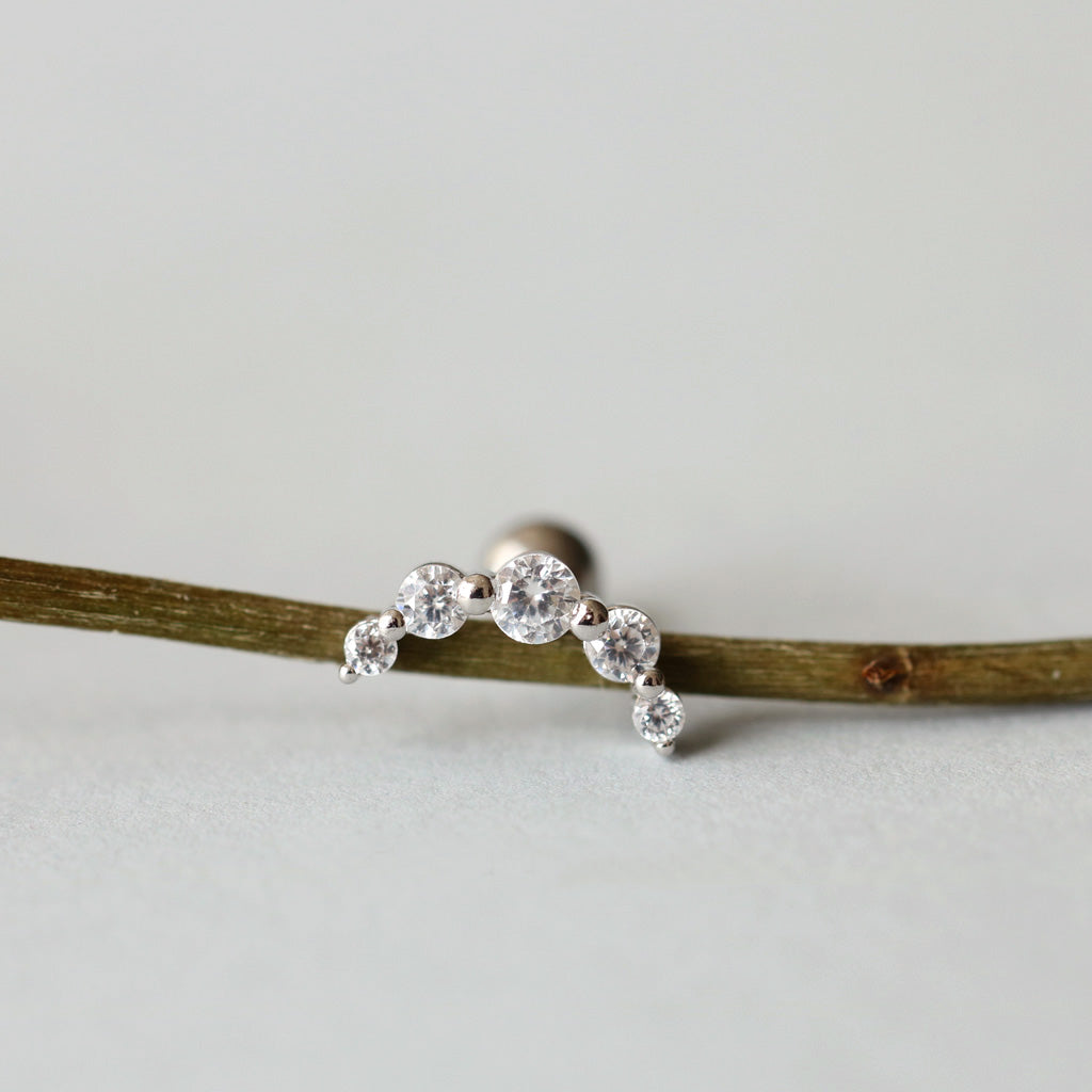 Curve CZ Bar Cartilage Stud
