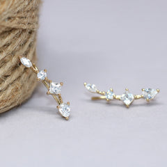 Delicate Crystal Ear Climbers
