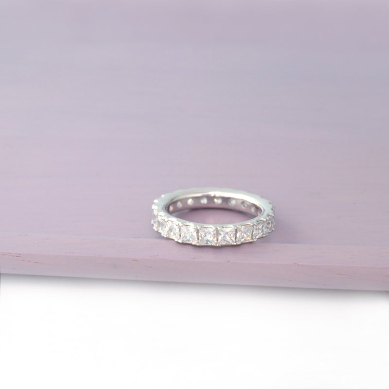 square CZ eternity band ring