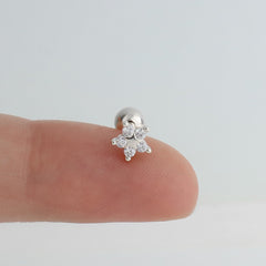 Star Flower Cartilage Piercing- Sterling Silver & 14K Gold