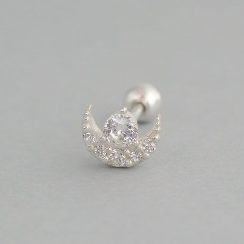 Tiny Crescent Moon Stud- Sterling Silver