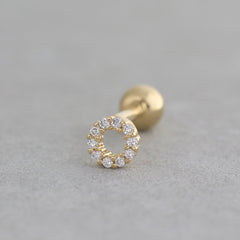 Pave Circle Cartilage Piercing- Sterling Silver & 14K Gold