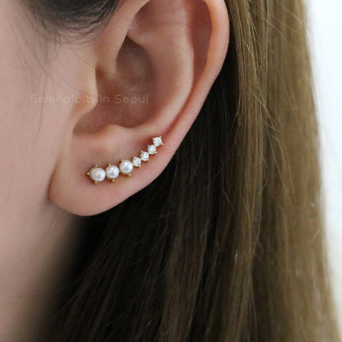 Pearl CZ Ear Climber Earrings