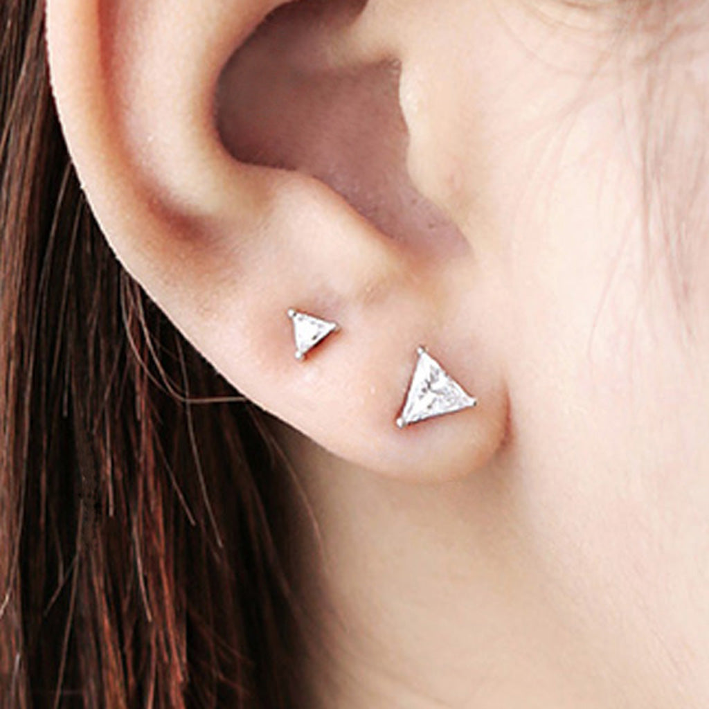 triangle CZ stud earrings for second hole or third hole piercings