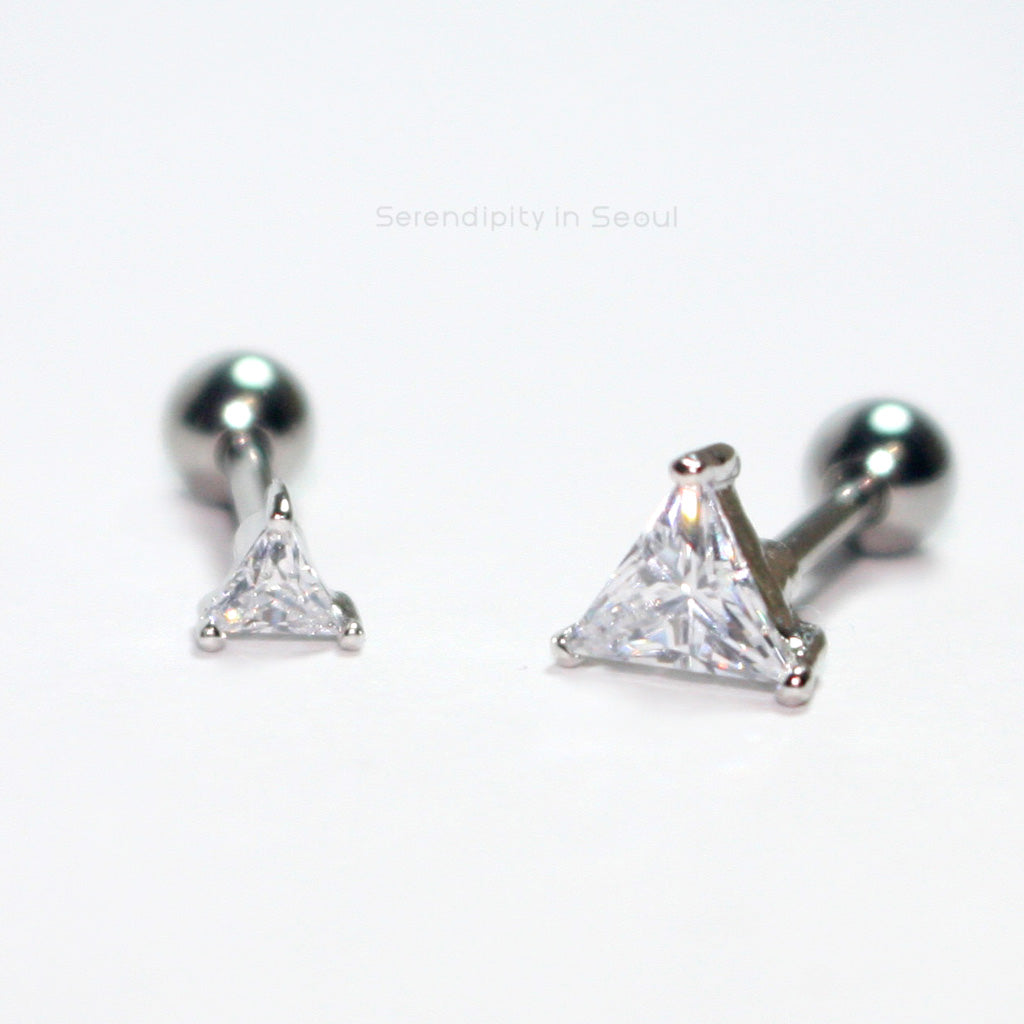 CZ Triangle Cartilage Stud Earrings
