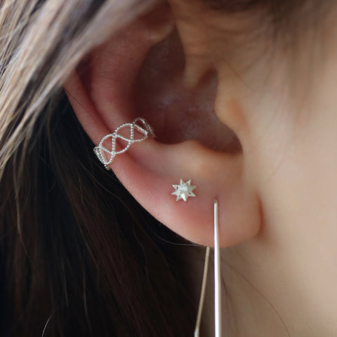 dainty cartilage no piercing ear cuff in silver
