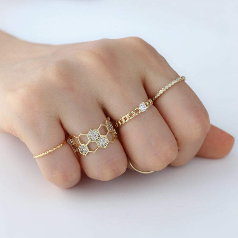 stacking dainty rings made from 14k gold plated sterling silver