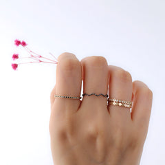 Slim Faceted Stacking Rings Made in Sterling Silver