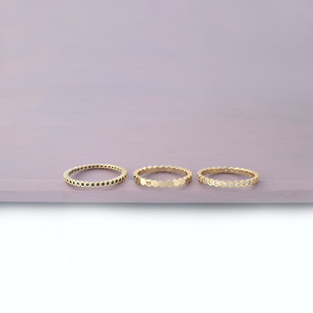 dainty stacking band rings made in sterling silver