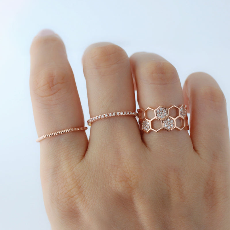 rose gold dainty stacking rings