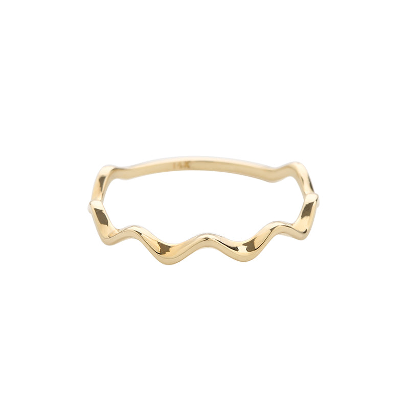 solid 14k gold dainty wavy ring