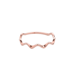 dainty wavy ring made from 14k rose gold