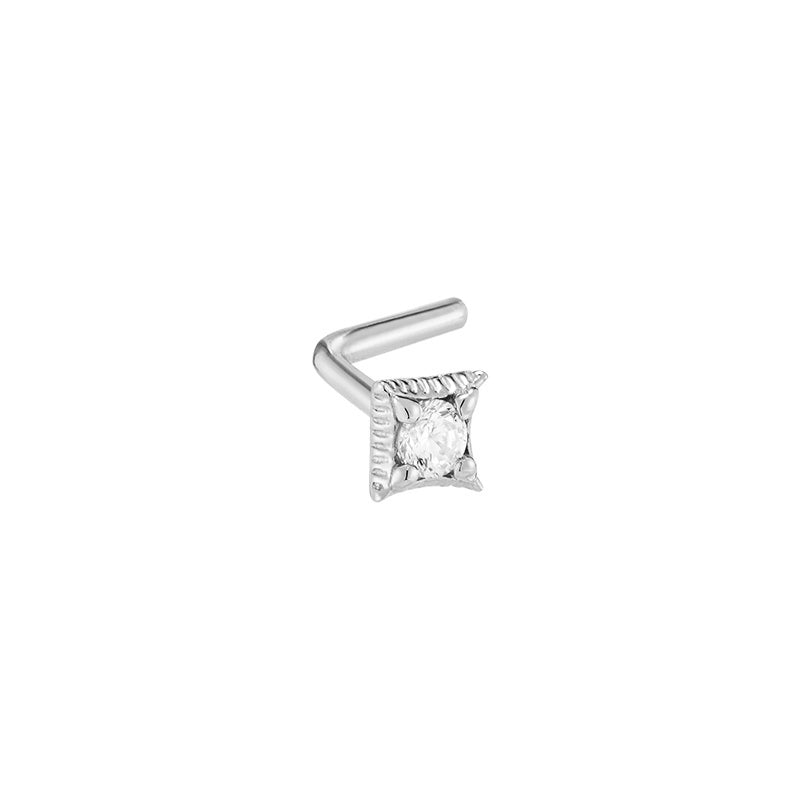 Square L-Shape Nose Stud- 14K Gold